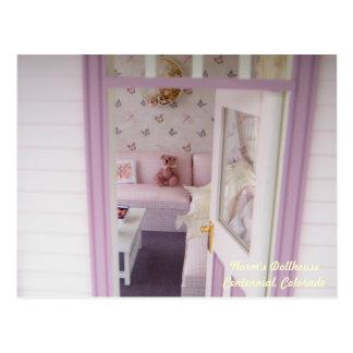 Miniature Bear in a Miniature Cottage Postcard