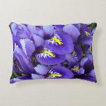 Miniature Blue Irises Spring Floral Accent Pillow