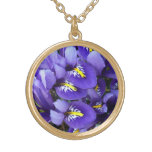 Miniature Blue Irises Spring Floral Gold Plated Necklace