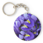 Miniature Blue Irises Spring Floral Keychain