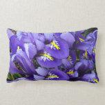 Miniature Blue Irises Spring Floral Lumbar Pillow