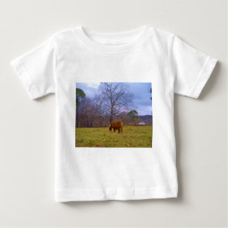Miniature brown horse blustery sky baby T-Shirt