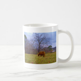 Miniature brown horse blustery sky coffee mug