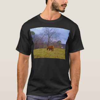 Miniature brown horse blustery sky T-Shirt