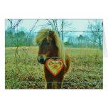 Miniature Brown horse Valentine Heart Greeting Card