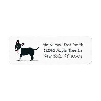 Miniature Bull Terrier Black/White Off-Leash Art™ Label