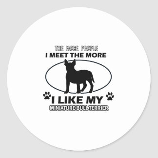 Miniature Bull Terrier designs and gifts Classic Round Sticker