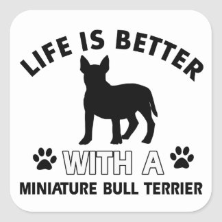 Miniature Bull Terrier designs Square Sticker
