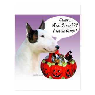 Miniature Bull Terrier Halloween Candy Postcard