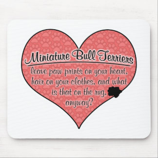 Miniature Bull Terrier Paw Prints Dog Humor Mouse Pad
