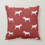 Miniature Bull Terrier Silhouettes Pattern Red Throw Pillow