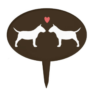 Miniature Bull Terrier Silhouettes with Heart Cake Toppers