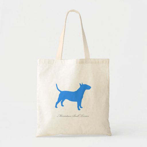 Miniature Bull Terrier Tote Bag (blue silhouette)