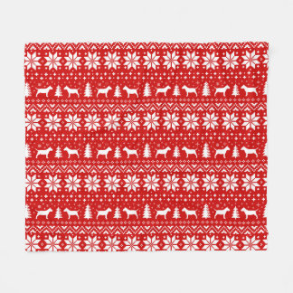 Miniature Bull Terriers Christmas Pattern Red Fleece Blanket