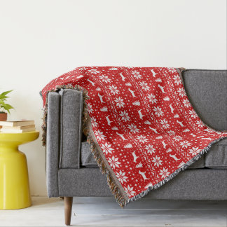 Miniature Bull Terriers Christmas Pattern Red Throw