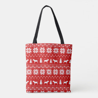 Miniature Bull Terriers Christmas Pattern Red Tote Bag