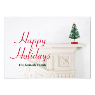 Miniature christmas tree on mantlepiece card