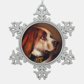 MINIATURE DOG PORTRAITS Bloodhound Snowflake Pewter Christmas Ornament