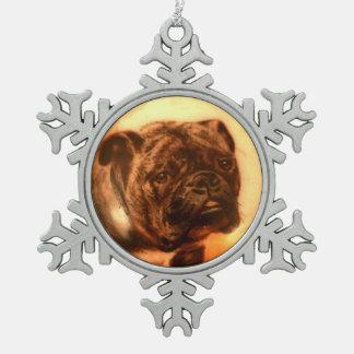 MINIATURE DOG PORTRAITS Bulldog Snowflake Pewter Christmas Ornament