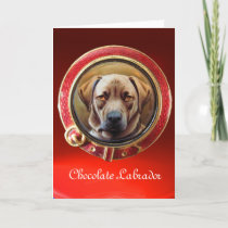 MINIATURE DOG PORTRAITS Chocolate Labrador Holiday Card