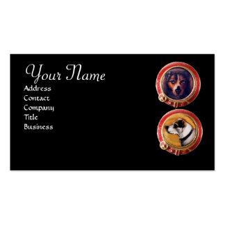 MINIATURE DOG PORTRAITS MONOGRAM Veterinarian Business Card