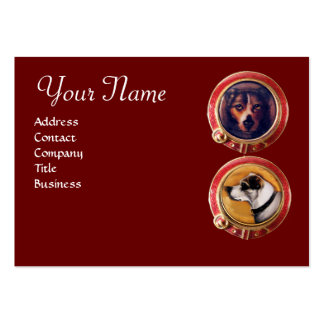 MINIATURE DOG PORTRAITS Monogram Veterinarian Large Business Cards (Pack Of 100)