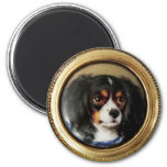 MINIATURE DOG PORTRAITS Tricolor Spaniel 2 Inch Round Magnet
