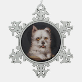 MINIATURE DOG PORTRAITS West Highland Terrier Snowflake Pewter Christmas Ornament