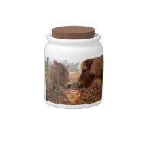 Miniature Donkey & Horse Valentine Heart Candy Jar