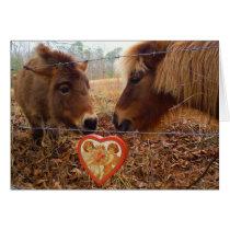 Miniature Donkey & Horse Valentine Heart Card