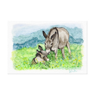 Miniature Donkey Mom and Baby Watercolor Art Canvas Print