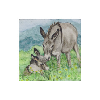 Miniature Donkey Mom and Baby Watercolor Art Stone Magnet