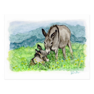 Miniature Donkey Mom and Baby Watercolor Art Postcard