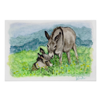 Miniature Donkey Mom and Baby Watercolor Art Poster
