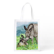 Miniature Donkey Mom and Baby Watercolor Art Reusable Grocery Bag