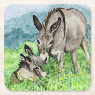 Miniature Donkey Mom and Baby Watercolor Art Square Paper Coaster