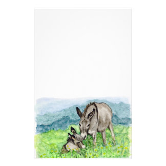 Miniature Donkey Mom and Baby Watercolor Art Stationery
