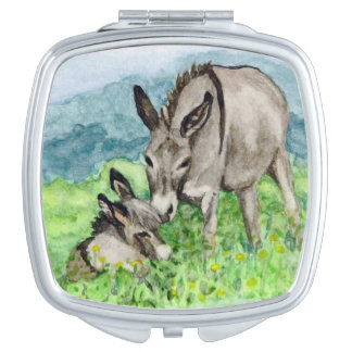 Miniature Donkey Mom and Baby Watercolor Art Vanity Mirror