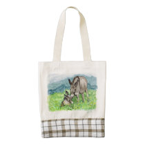 Miniature Donkey Mom and Baby Watercolor Art Zazzle HEART Tote Bag