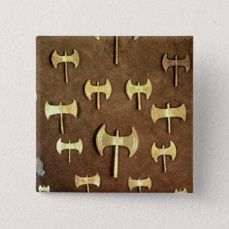 Miniature double axes pinback button