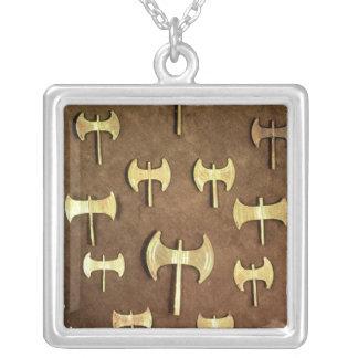 Miniature double axes square pendant necklace