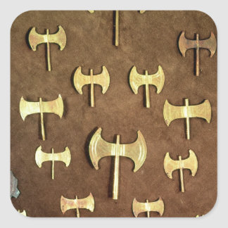 Miniature double axes square sticker