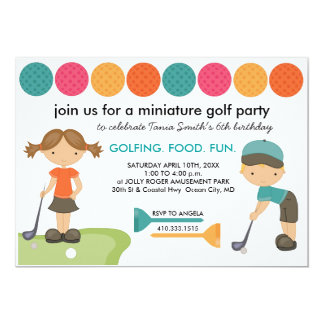 "Miniature Golf Birthday Party Invitations for Kids 5"" X 7"" Invitation Card"