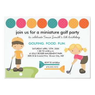 "Miniature Golf Birthday Party Invitations for Kids 5"" X 7"" Invitation Card"
