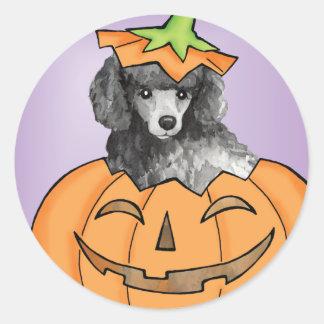 Miniature Halloween Poodle Classic Round Sticker