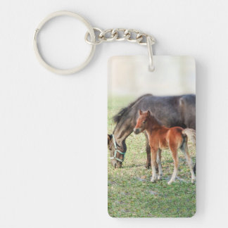 Miniature Horse Foal - Customized Colt & Filly Double-Sided Rectangular Acrylic Keychain