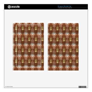 Miniature lock pattern brass shine fashion DIY fun Skin For Kindle Fire