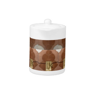 Miniature lock pattern brass shine fashion DIY fun Teapot