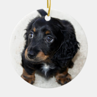 Miniature Long Haired Dashund Double-Sided Ceramic Round Christmas Ornament