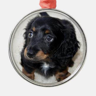 Miniature Long Haired Dashund Round Metal Christmas Ornament